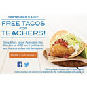 Free Tacos for Teachers at Rubio's